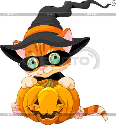 Cute Halloween Kitten | Klipart wektorowy |ID 3942154