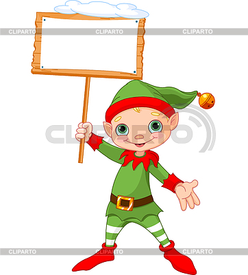 Christmas Elf with sign | Klipart wektorowy |ID 4073177