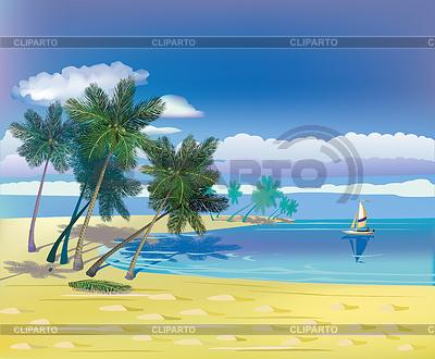 Das Meer, Yachten, Palmen trees.Travel.   Stock Vektorgrafik  ID 3729538