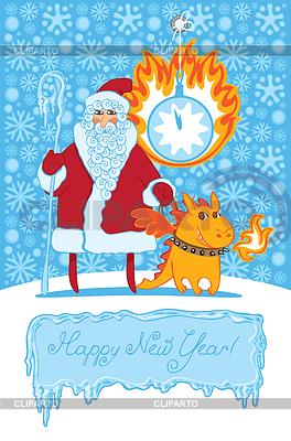 Drachen und Santa Claus | Stock Vektorgrafik |ID 3972609