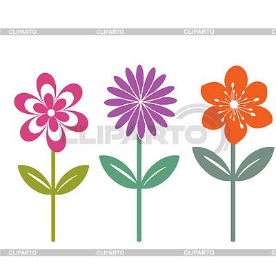 Drei isolierte Vektor Blumen | Stock Vektorgrafik |ID 3710895
