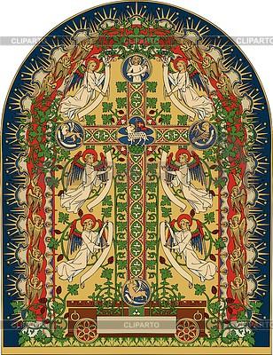 Ewangelia oświetlony projekt z aniołami i krzyż | Klipart wektorowy |ID 3897567