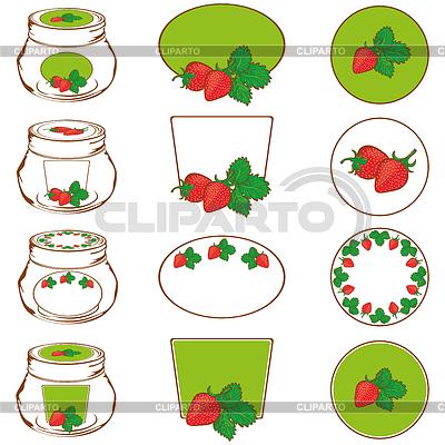 Set von Etiketten für Erdbeermarmelade | Stock Vektorgrafik |ID 3881058