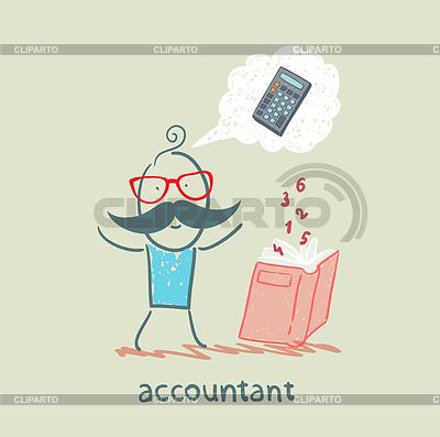 Buchhalter mit Buch über das Denken über Zahlen | Stock Vektorgrafik |ID 3894098