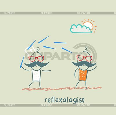 Reflexologist arbeitet mit Patienten mit Nadeln | Stock Vektorgrafik |ID 3973059