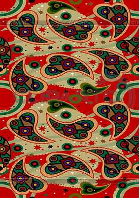 Vivid paisley on red seamless background   | Klipart wektorowy |ID 3754998