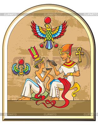 Egipski faraon i jego żona | Klipart wektorowy |ID 3975126