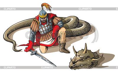 战士和一个巨大的蛇 | 向量插图 |ID 3997788