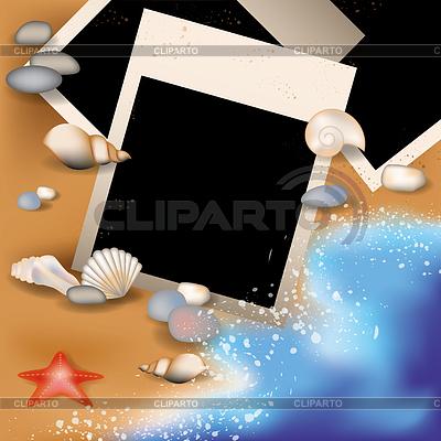 Sommer Bilderrahmen mit Muschel, Vektor-Illustration | Stock Vektorgrafik |ID 3845588