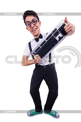 Funny maniak komputerowy | Foto stockowe wysokiej rozdzielczości |ID 3775159