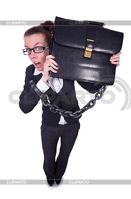 Frau in Ketten mit Aktentasche | Foto mit hoher Auflösung |ID 3791980