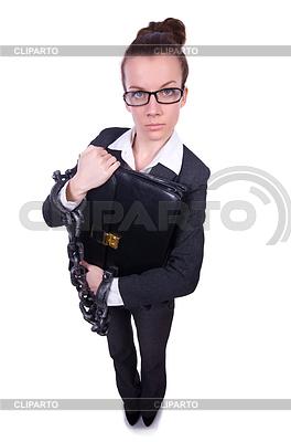 Frau in Ketten mit Aktentasche | Foto mit hoher Auflösung |ID 3863459