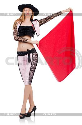 Kobieta torreadora na białym | Foto stockowe wysokiej rozdzielczości |ID 3907608