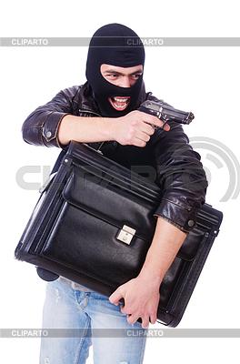 Robber with stolen suitcase and gun | Foto stockowe wysokiej rozdzielczości |ID 4736065