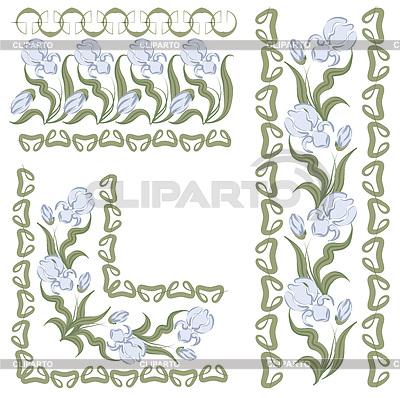 Verzierung mit Schwertlilien. horizontale, vertikale Winkel | Stock Vektorgrafik |ID 3716961