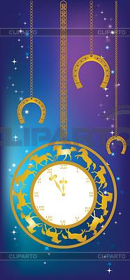 Neues Jahr Hintergrund mit Uhr und Hufeisen | Stock Vektorgrafik |ID 3994896