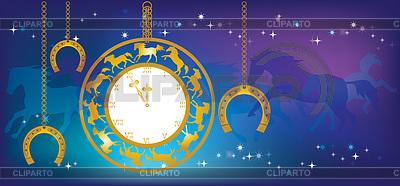 Neues Jahr Hintergrund mit Uhr und Hufeisen | Stock Vektorgrafik |ID 3994898