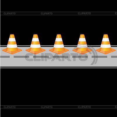 Background with traffic cones on road | Klipart wektorowy |ID 3793297