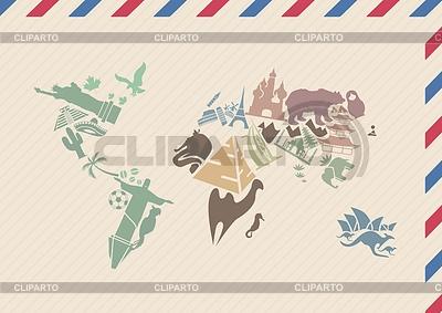 Vintage koperta z mapy świata z punktów orientacyjnych | Klipart wektorowy |ID 3817809