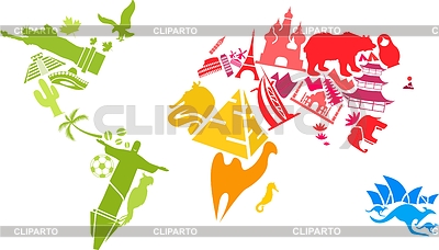 Weltkarte der Wahrzeichen gemacht | Stock Vektorgrafik |ID 3818104
