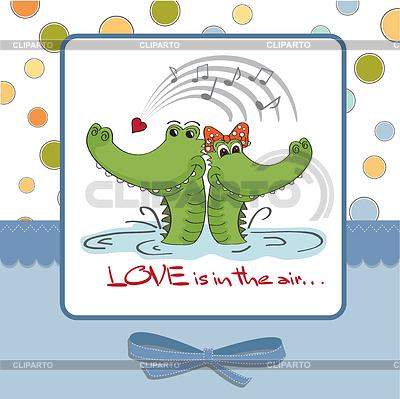 Crocodiles in love.Valentine `s Day-Karte | Stock Vektorgrafik |ID 3734808