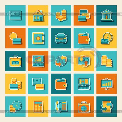 Satz von Geschäfts-und Bankenviertel Symbolen | Stock Vektorgrafik |ID 3879898