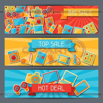 Haushaltsgeräte und Elektronik horizontale Banner | Stock Vektorgrafik |ID 3891998