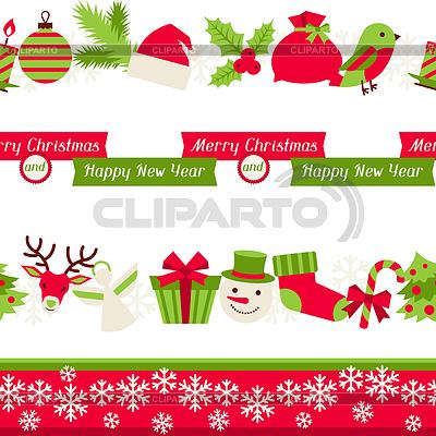 Merry Christmas seamless borders | Klipart wektorowy |ID 3916478