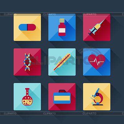 Set von medizinischen Symbole in flache Design-Stil | Stock Vektorgrafik |ID 3938218