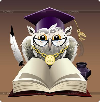 Сова рисунок с книгой