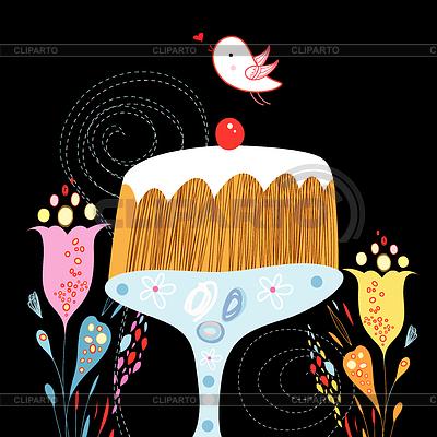 Kuchen und Vogel | Illustration mit hoher Auflösung |ID 3720817