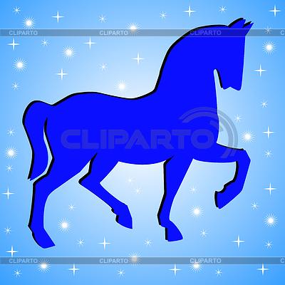 Silhouette Pferd auf blauem Hintergrund | Illustration mit hoher Auflösung |ID 3978808