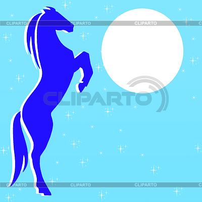 Silhouette Pferd auf blauem Hintergrund | Illustration mit hoher Auflösung |ID 3978829