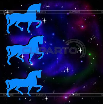 Silhouetten von drei Pferd auf Hintergrund Sterne Galaxie | Illustration mit hoher Auflösung |ID 3979008