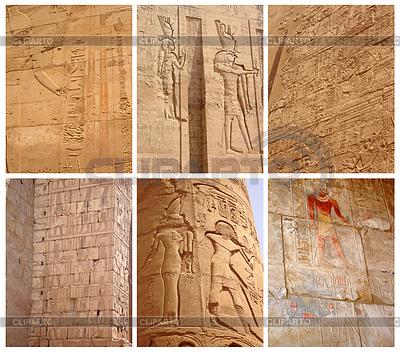 고대 이집트의 이미지와 비문 세트 | 높은 해상도 사진 |ID 3890346