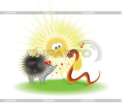 Nicer hedgehog and snake | Stockowa ilustracja wysokiej rozdzielczości |ID 3865360