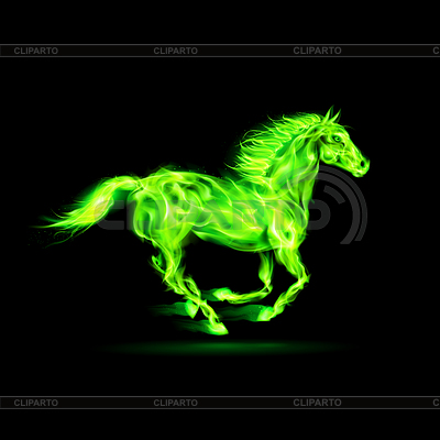 Зеленая лошадь огнем | Векторный клипарт |ID 4002116