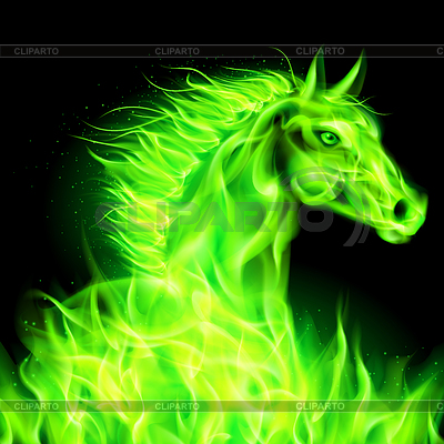Grüne Feuer-Pferd | Stock Vektorgrafik |ID 4002207