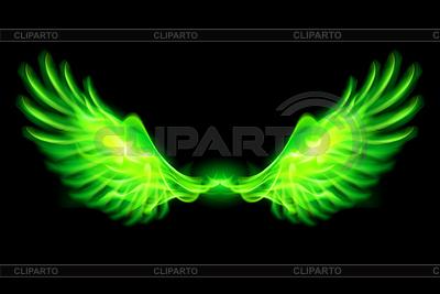 Zielony ogień skrzydła | Klipart wektorowy |ID 4003066