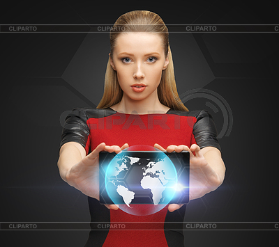 Kobieta trzyma tablet PC z znakiem świecie | Foto stockowe wysokiej rozdzielczości |ID 3932068