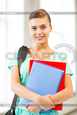 Student Mädchen mit Schultasche und Notebooks | Foto mit hoher Auflösung |ID 3932289