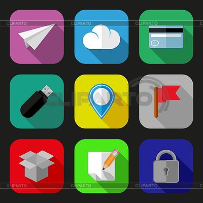 Плоские иконки и пиктограммы набор | Иллюстрация большого размера |ID 3909169