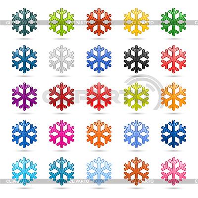 Set of 25 color snowflakes | Klipart wektorowy |ID 3724602