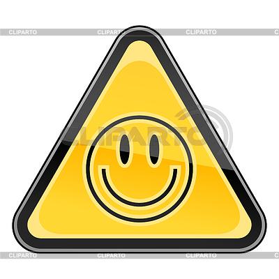 Gelbe Warnzeichen mit Smiley-Gesicht Symbol | Stock Vektorgrafik |ID 3730369
