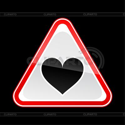 Triangular red Straße Warnzeichen mit Herz-Symbol | Stock Vektorgrafik |ID 3730409