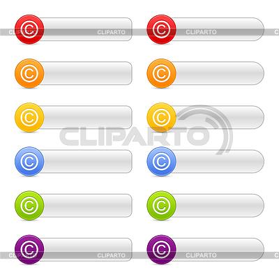12 długich przyciski z symbolem praw autorskich | Klipart wektorowy |ID 3730679