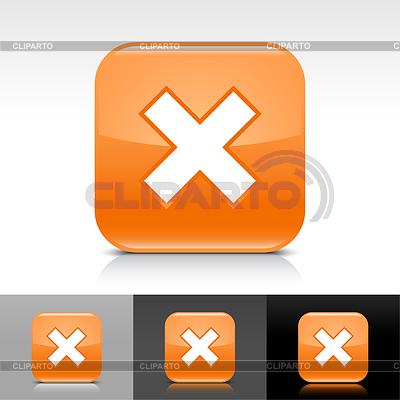 Błyszczące internetowych przyciski z pomarańczowym napisem delete | Klipart wektorowy |ID 3743489
