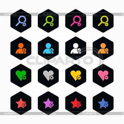 16 sześciokątnych web buttons - użytkownik, plus, serce, usunąć | Klipart wektorowy |ID 3744309