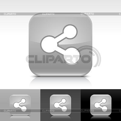 Grau glänzende Knopf mit weißen Zeichen Aktie | Stock Vektorgrafik |ID 3744728