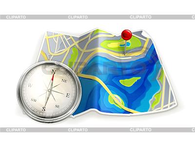 Landkarte und Kompass | Stock Vektorgrafik |ID 3777109